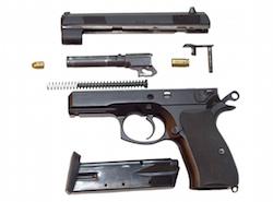 Component parts of a pistol