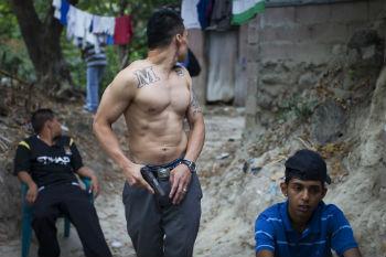 A member of the Mara Salvatrucha gang
