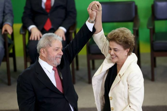 Lula da Silva and President Rousseff at Thursday's swearing-in ceremony