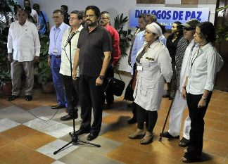 The FARC delegation at peace negotiations in Havana, Cuba