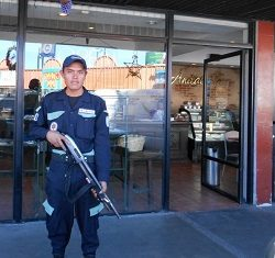 A hired security guard in Guatemala