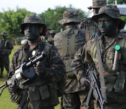 Guatemalan soldiers prepare for a military exercise