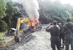 Security operation against illegal mining in Colombia