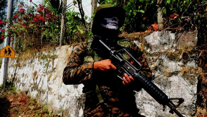 A Salvadoran police officer