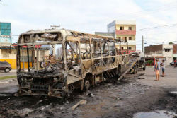 A burned out bus in Natal