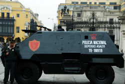 A well armed and armored Peruvian National Police vehicle