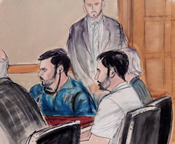Courtroom sketch depicting the defendants Campo and Flores