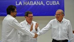 Peace negotiators shake hands