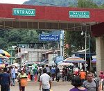 A border crossing between Guatemala and Mexico