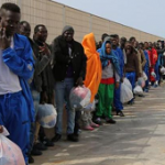 African migrants waiting in Tijuana to cross the border into the US