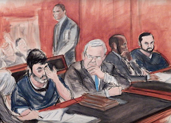 Courtroom sketch depicting Campo and Flores