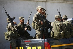 Guatemalan military on a joint patrol with the police
