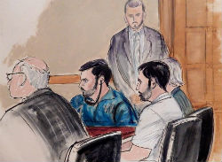 Sketch of Efrain Campo and Francisco Flores in court