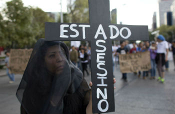 An anti-government protester in Mexico