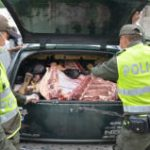 Colombian police inspect contraband meat