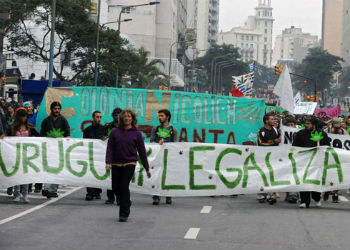 Pro-legalization marchers in Uruguay