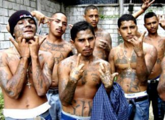 Members of El Salvador's MS13 street gang.