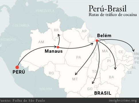 Cocaine smuggling routes from Peru to Brazil
