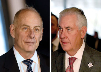 US Secretary of Homeland Security John Kelly and Secretary of State Rex Tillerson