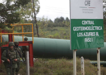Soldiers patrol a CFE power plant in the state of Michoacán