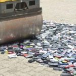 Counterfeit mobile phones destroyed by Brazilian authorities