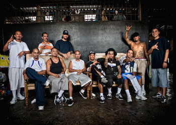 Members of the MS13 street gang in a prison in El Salvador.