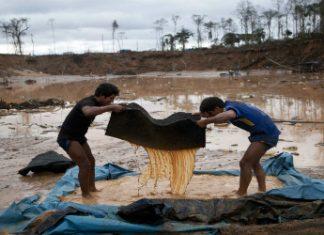 An illegal mine in Peru's Madre de Dios department