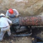Pemex engineers repairing a pipeline in Mexico