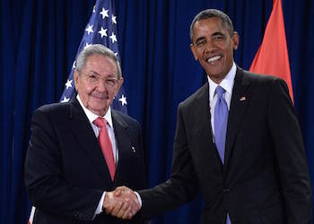 Presidents Barack Obama and Raul Castro