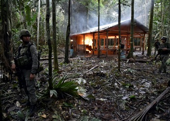 A cocaine lab being dismantled in Putumayo, Colombia