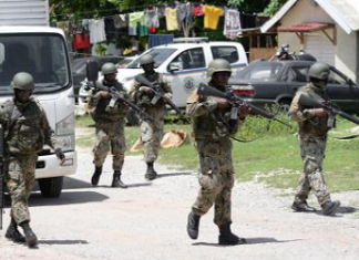 Jamaican security forces on patrol