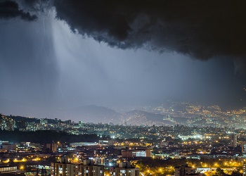 The city of Medellín during a storm