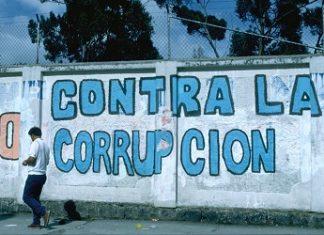 "Graffiti that reads ""Against Corruption"""