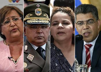 (Left to right) Tibisay Lucena, Néstor Reverol, Iris Varela and Elías Jaua