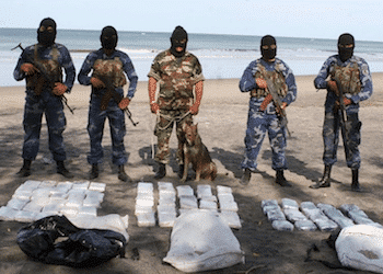Nicaragua security forces guard a seized drug shipment