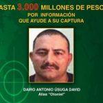"""Cartel ofreciendo recompensa por alias """"Otoniel"""""""
