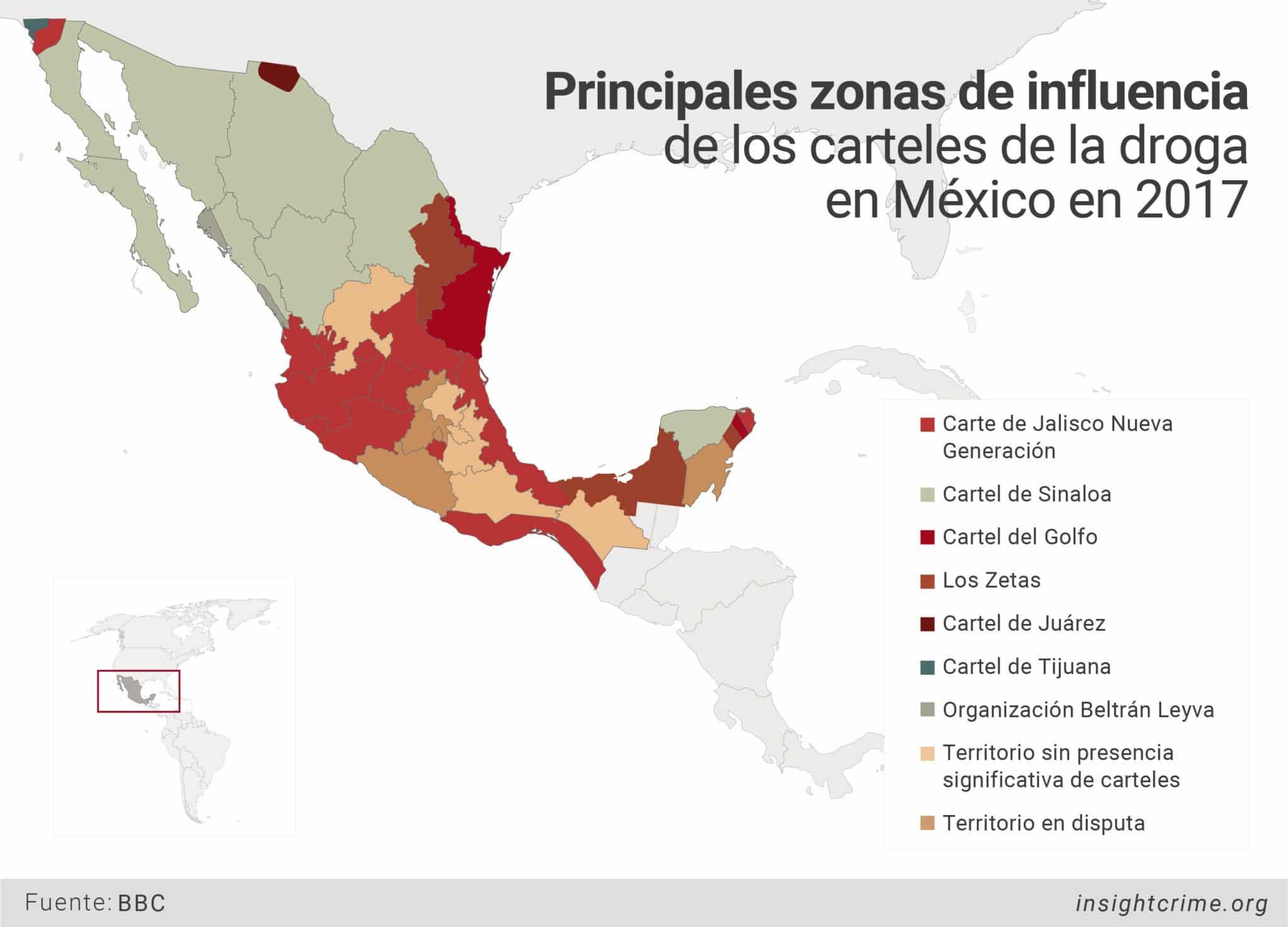 Principales zonas de influencia de los carteles de la droga 2017