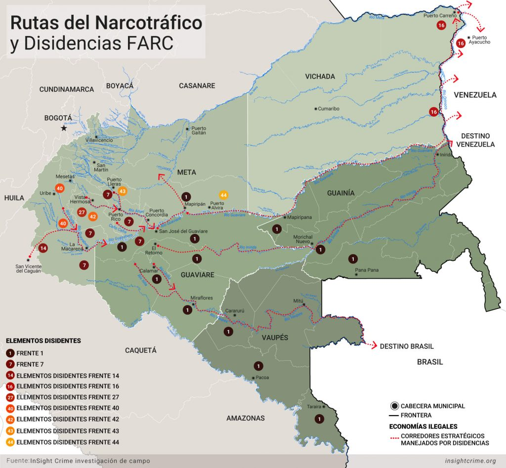 Rutas de narcotrafico y disidencias FARC Mapa
