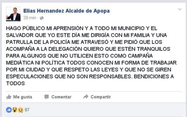 Captura de pantalla de la publicación del alcalde en Facebook