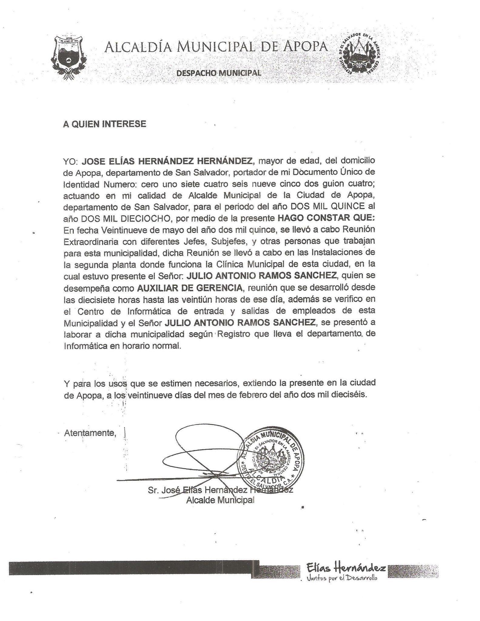 (Carta de Hernández al juez)