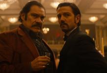 """En """"Narcos: México,"""" Diego Luna (derecha) interpreta al fundador del Cartel de Guadalajara Miguel Ángel Félix Gallardo"""