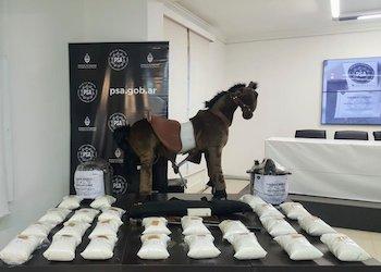 Narcotraficantes belgas intentaban enviar drogas sintéticas a Argentina ocultas en un caballito de madera ©Ministerio de Seguridad